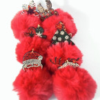 "3.5"" All Red Faux Fur Christmas Stone Keychains 6 styles per dz .56 each"