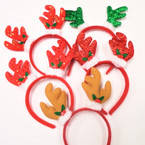 5 Style Christmas Fun Headbands Reindeer Ears   .56 each