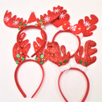 4 Style Christmas Fun Headbands Reindeer Ears   .56 each