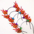 Christmas Fun Headbands Reindeer Ears w/ Bell    .56 each