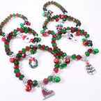 Red & Green Crystal Bead Bracelets w/ Jingle Bells/Charm 12 per pk  .54 each