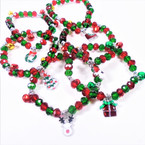 6 Style Red & Green Crystal Bead Bracelets w/ Jingle Bells/Charm 12 per pk  .54 each