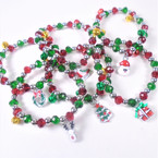6 Style Red & Green Crystal Bead Bracelets w/ Jingle Bells/Charm 12 per pk  .54 ea