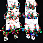 Gold & Silver Bead Hoop Earrings w/ Jingle Bells & Christmas Charms .54 each pair