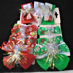 3 Pack Gator Clip Christmas Bows w/ Tinsel Mixed Styles .54 per set