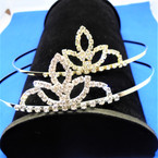 Gold/Silver Rhinestone Tiara Headbands Clear Stones (575) .65 each