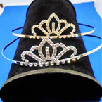 Gold/Silver Rhinestone Tiara Headbands Clear Stones (644) .65 each
