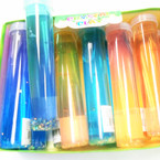 "6.5"" Tube Style  Crystal Mud  w/ Glitter 12 per display bx .58 each"