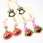 Fun 3 Style Halloween Earrings w/ Cry. Stone Fireball Bead .50 per pair