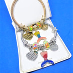 Gold & Silver Spring Style Bracelet w/ Mermaid Love Theme  .56 ea