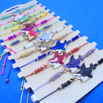 Beaded Cord  Bracelets w/ Colorful Shark Charm  12 per card .54 ea