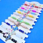 Beaded Cord  Bracelets w/ Colorful Mermaid Charm  12 per card .54 ea
