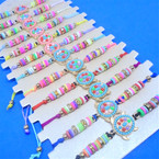 Beaded Cord  Bracelets w/ Colorful Seed Bead Turtle Charm  12 per card .54 ea