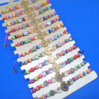 Beaded Cord  Bracelets w/ Turtle of Life Charm  12 per card .54 each