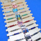 Beaded Cord  Bracelets w/ Colorful  Turtle Charm  12 per card .54 ea