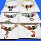 Christmas Theme Gold & Silver Spring Style Bracelets w/ Mixed Charms (2113)   .56 ea