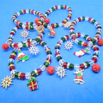 Clear,Red & Green Crystal Bead Christmas Bracelets w/ Charms 12 per pk  .56 each
