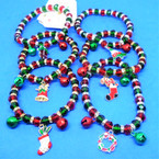 Red,Green Crystal Bead Bracelets w/ Jingle Bells/Charm 12 per pk (2128)   .56 each