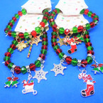 Red,Green Crystal Bead Bracelets w/ Christmas Charms (2941) 12 per pk  .56 each