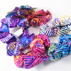 2 Pack Shiney Striped Metallic Hair Scrungi's Asst Colors  .54 per set