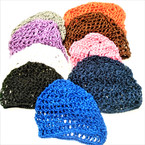 Mixed Color Crochet Stretch Hair Nets Mixed Sizes per dz  .56 each