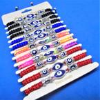 Mixed Color  Macrame Bracelet w/ Triple Eye Beads 12 per card   .54 each