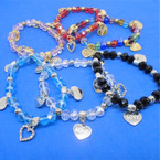 Great For MOM Love Heart Theme Crystal Stretch Bracelets .56 each