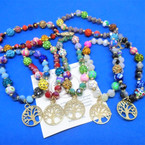 Multi Style Beaded Stretch Bracelets w/ Gold Tree of Life Charm .56 each