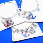 Silver Wire Bangle Bracelet w/ Anchor Nautical Charms  .54 ea