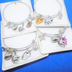 Silver Wire Bangle Bracelet w/ Unicorn Theme Charms  .54 ea
