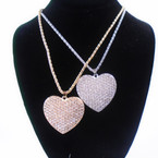 "18"" Gold & Silver Chain Neck Set w/ Cry. Stone Heart Pendant .58 per set"