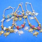 Pandora Style Charm Bracelets Gold/Silver w/ Triple Turtle Charms   .56 ea