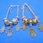 Pandora Style Charm Bracelets Gold/Silver w/ Triple Hamsa Charms   .56 ea