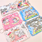 "BEST BUY 4"" Magical Sequin Change Picture Zipper Coin Purse w/ Keychain .58 each"