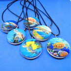 Leather Cord Necklace w/ Glass Pendant Asst Turtles  .56 each