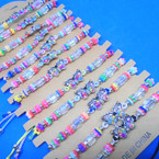 Beaded Cord  Bracelets w/ Colorful Cry. Stone Butterfly  12 per card .54 ea