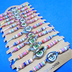 Colored Bead & Crystal Cord  Bracelets w/ Cowrie Shell Eye 12 per card .54 ea