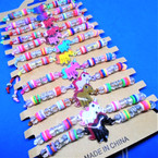 Colored Bead & Crystal Cord  Bracelets w/ Cute Unicorn 12 per card .54 ea