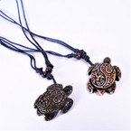 DBL Leather Cord Necklace w/ Turtle  Pendant (7108)  .54 each