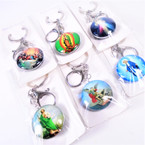 DBL Sided Glass Keychains w/ Clip Saint Picture Themes  .54 each