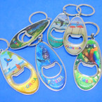 "3"" Metal Surf Board Look Bottle Opener Florida Theme Keychains .54 each"