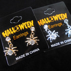 Gold & Silver Spider w/ Cry. Stone Halloween Earrings  .54 per pair
