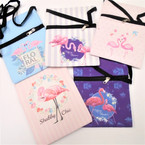 "5"" X 7"" Flamingo Theme Zipper Side Bag w/ Strap .60 each"