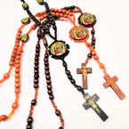 "34"" Wood Bead Rosary  w/ Guadalupe Picture 3 colors .58 each"