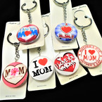 DBL Sided Glass Keychains w/ MOM Theme Mixed Styles  .54 each