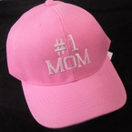 #1 MOM Embroidered Baseball Caps PINK w/ White Letters   12 per pk $ 2.75 each