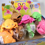 """3.5"""" Super Squishy Frogs w/ Multi Color Beads 12 per display bx .58 ea"""