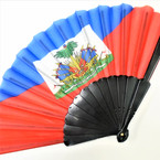 "9"" Haiti Country Flag Hand Fans 12 per pk  .56 each"