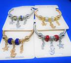 Silver Spring Style Bracelet w/ Mermaid & Starfish Charms  .54 ea