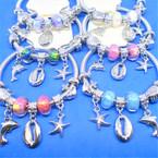 Silver Spring Style Bracelet w/ Nautical Charms  .54 ea
